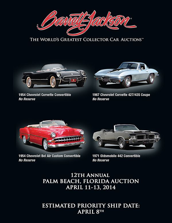 Next Barrett Jackson auction is Palm Beach, April 11th-13th, 2014 Preview a few of the cars coming up for auction here: http://www.barrett-jackson.com/palmbeach/