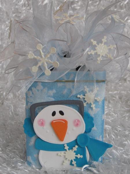 Snowman Altered Band Aid Tin