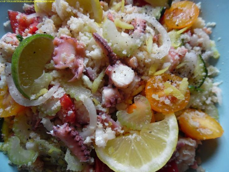 Panzanella con verdurine a polpo di mare - Bread salad, with Summer vegetables and seafood - From a family recipe- Tuscan food, cibo toscano