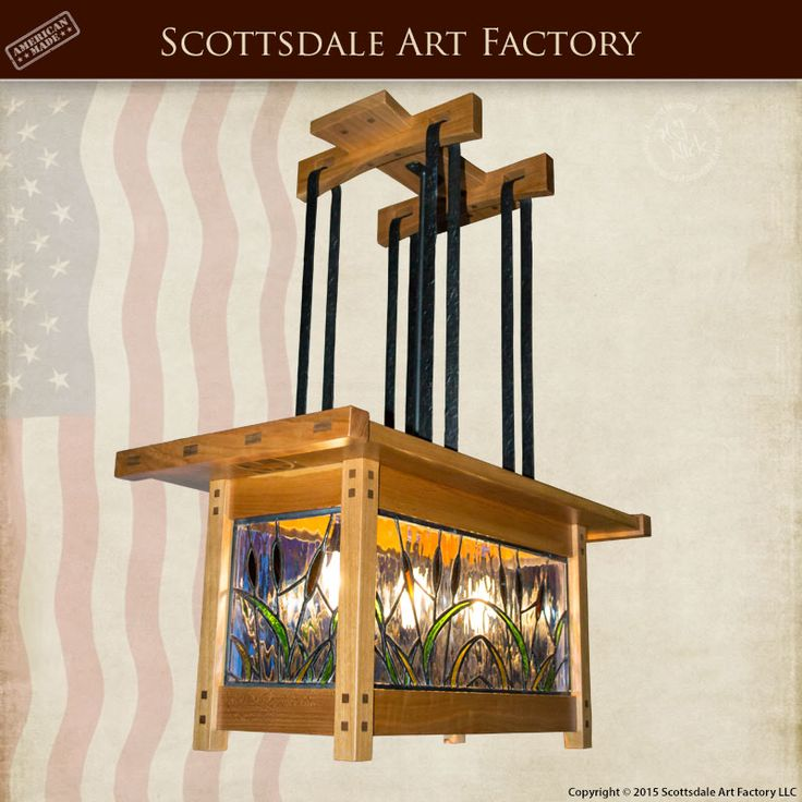 Arts and Crafts - Chandeliers Custom Made - CH6126B - Hand made lighting fixtures solid wood frame, stained glass custom chandeliers