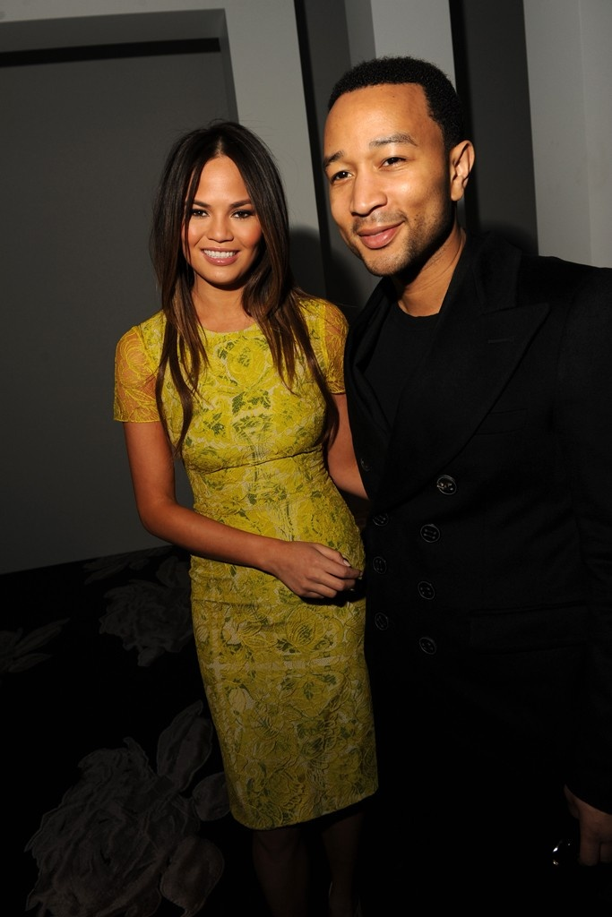 Christine Teigen and John Legend Front Row at Vera Wang