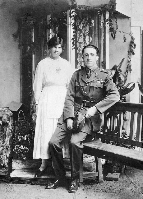 Strikingly handsome couple from the past..ca. 1918..from the Australian War Museum archives...Cora and Captain Henry Forrest of the Australian Flying Corpon their wedding day