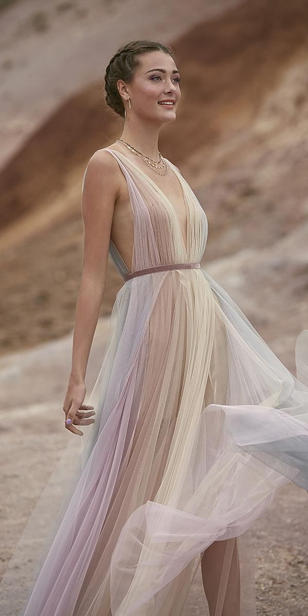 3caca826ec5 greek wedding dresses a line deep v neckline ombre flowy simple willow by  watters Rainbow Bridesmaid