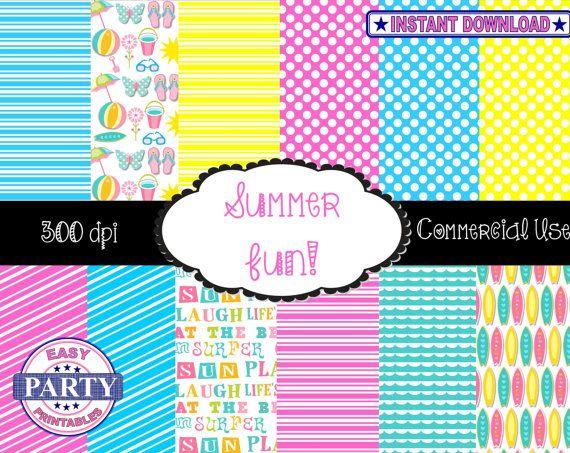 Summer Fun Backgrounds, Commercial Usage, Surfer, Beach, Summer, Flip Flops, Life's a Beach, Backgrounds, 300dpi