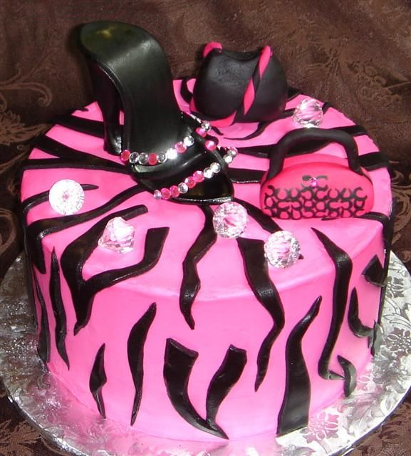 Unique Birthday Cakes for Women | 983 Ladies custom designed pink and black diva birthday cake with ...