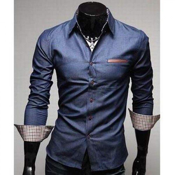 Chemise Homme Fashion Denim style design Slim fit classe Jean bleu fonce