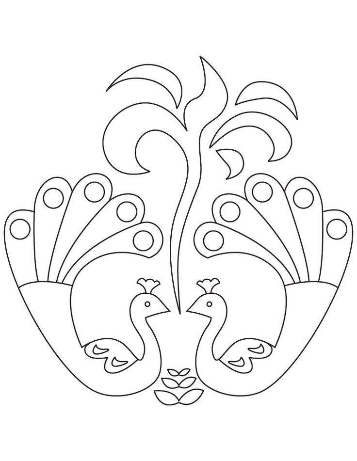 rangoli coloring pages - Google Search | Peacock drawing ...