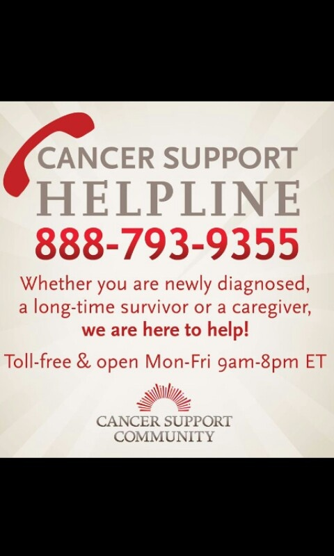 Cancer support line. Support and pass info on to someone who is in need. Thank you all...  I used this for online chat today and was able to be directed JUST where I need to be...thx Laura
