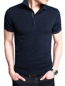 Camiseta polo de algodón de azul oscuro con manga corta