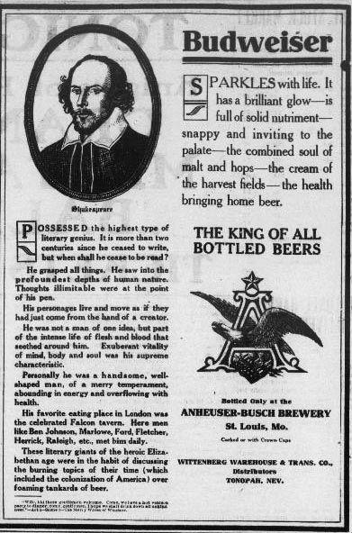Budweiser Advertisement Featuring William Shakespeare