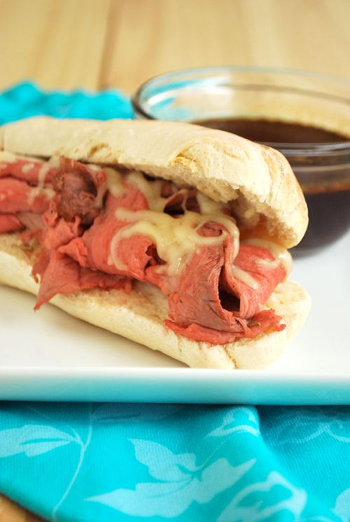 French Dip with Homemade Au Jus recipe and images by Lacey Baier, a sweet pea chef