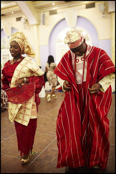 Nigerian (Yoruba) Traditional wedding attire.        Bride wears Iro and Buba        Groom wears an Agbada