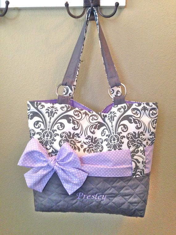 Personalized Diaper Bag In Lavender & Grey Damask.  Interchangeable Sash in Polka Dot or Solid Lavender on Etsy, $95.00
