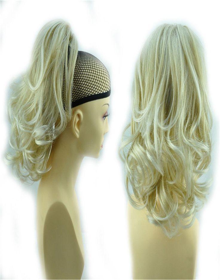 "14 ""& 110g Haar Klauw Paardenstaart Uitbreiding Lange & Volumineuze Gekruld Golvend Hittebestendige Div. Colours SB60 Blonde Mix 25T613"