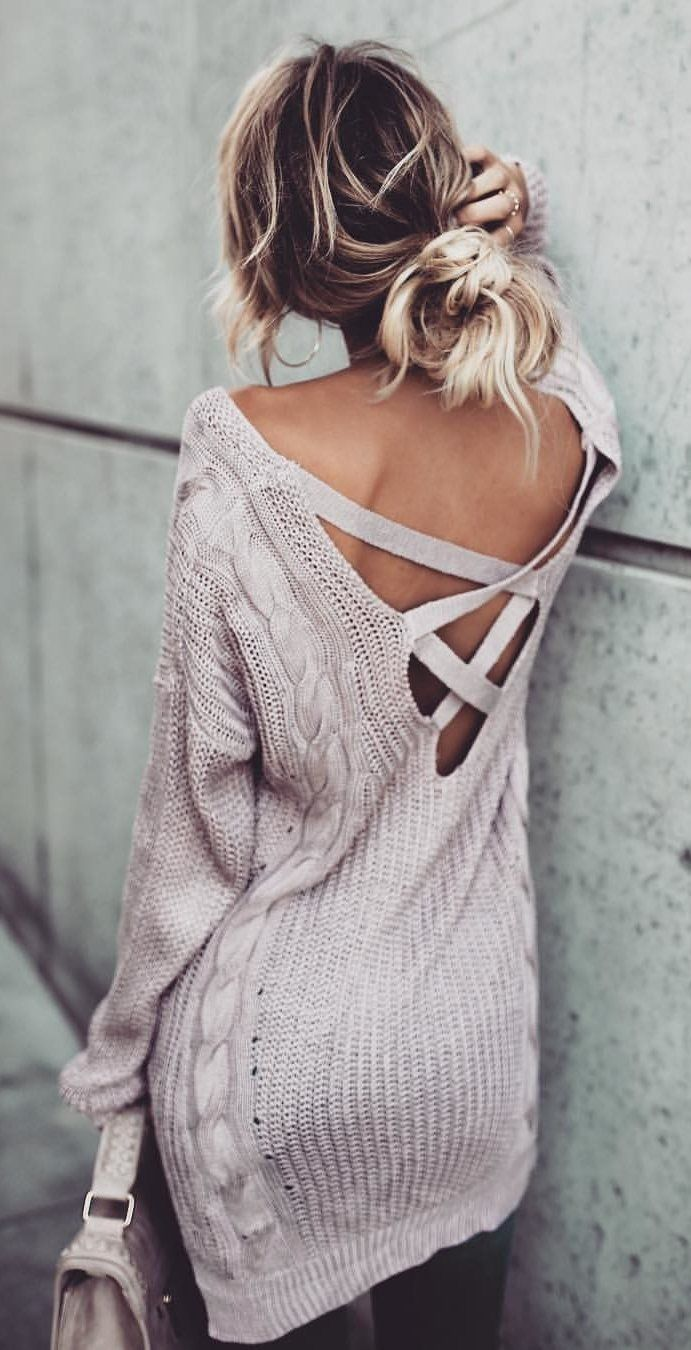 #fall #outfits Grey Lace-up Dress