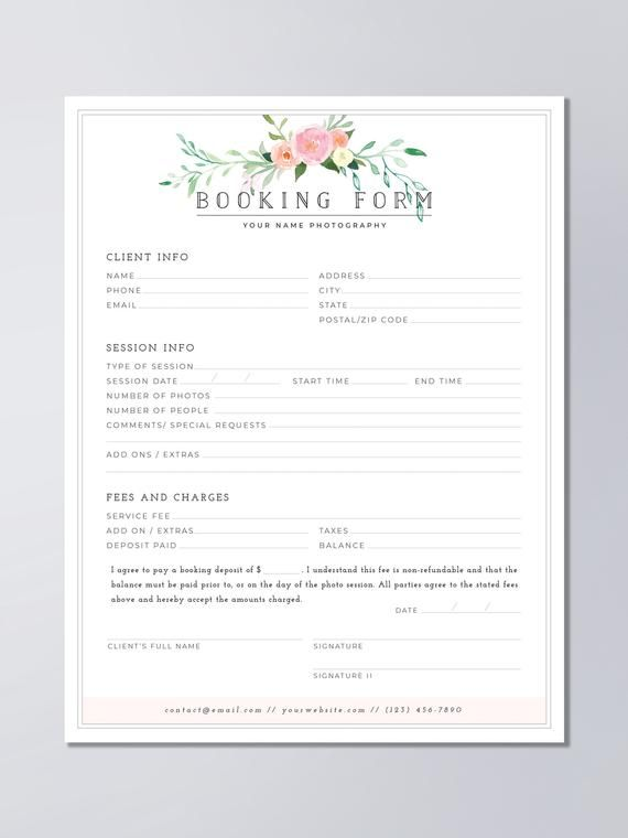 Client Booking Form For Photographers Wedding Photography