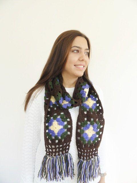 Afghan Crochet Scarf Multicolor Womens Scarf by LedaDesign on Etsy
