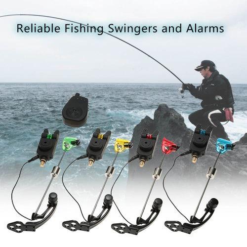 LIXADA Wireless Fishing Bite Alarms Set Digital Fishing Alarm Kit 1 Receiver Plus 4 Alarms For Carp Fishing With 4pcs Carp Fishing Swinger Illuminated LED Swinger With A Zippered Box Fishing Tackles