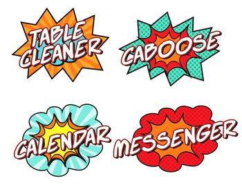 Super Hero Themed Classroom Jobs SignsThis 5 page pdf (20 different jobs) is perfect for any classroom with a superhero theme. Love this idea for schools using the leader program. Goes great with my other chalkboard and super hero themed designs. The bright colors also lets you match it to your current decor.