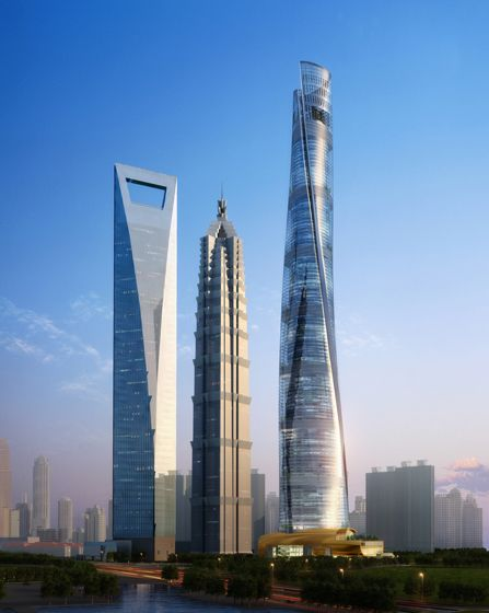 Shanghai architecture wonders! Jin Mao tower center, Shanghai World Financial Center left, and the massive Shanghai tower said to be completed in 2014 is a 2000ft+ wonder.  It spirals 120° and is the second tallest building in the world.