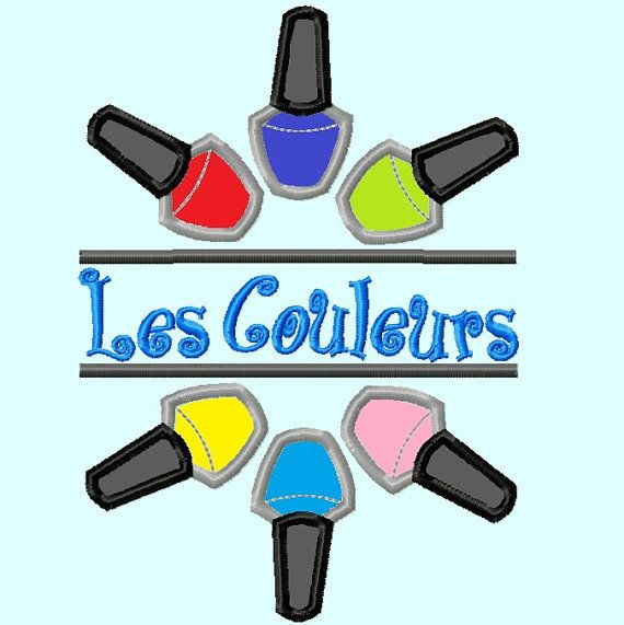 Split  Nail Polisher Bottles Applique Embroidery by LunaEmbroidery, $3.99