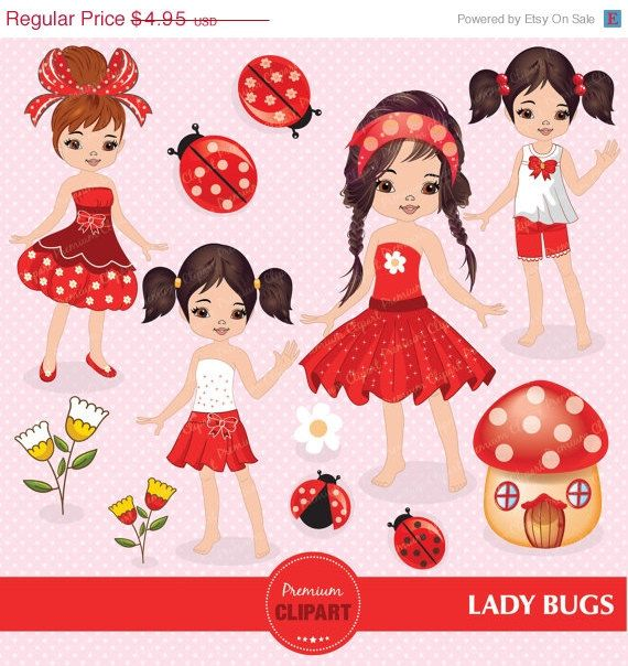 50% OFF SALE Ladybug clipart, Ladybug girl, Ladybug clipart for Digital Scrapbooks, Invitations, Commercial Use - CA103 by PremiumClipart on Etsy