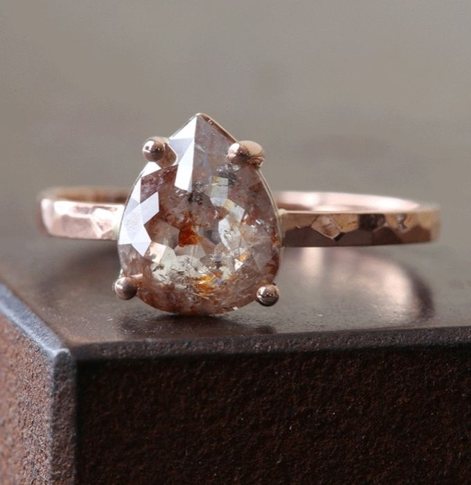 Alexis Russell <<>> Custom Natural Rose-Cut Red or Chocolate Diamond Engagement Ring