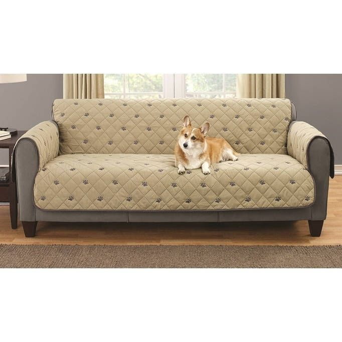 Embroidered Pet Sofa Protector with Non-slip Backing