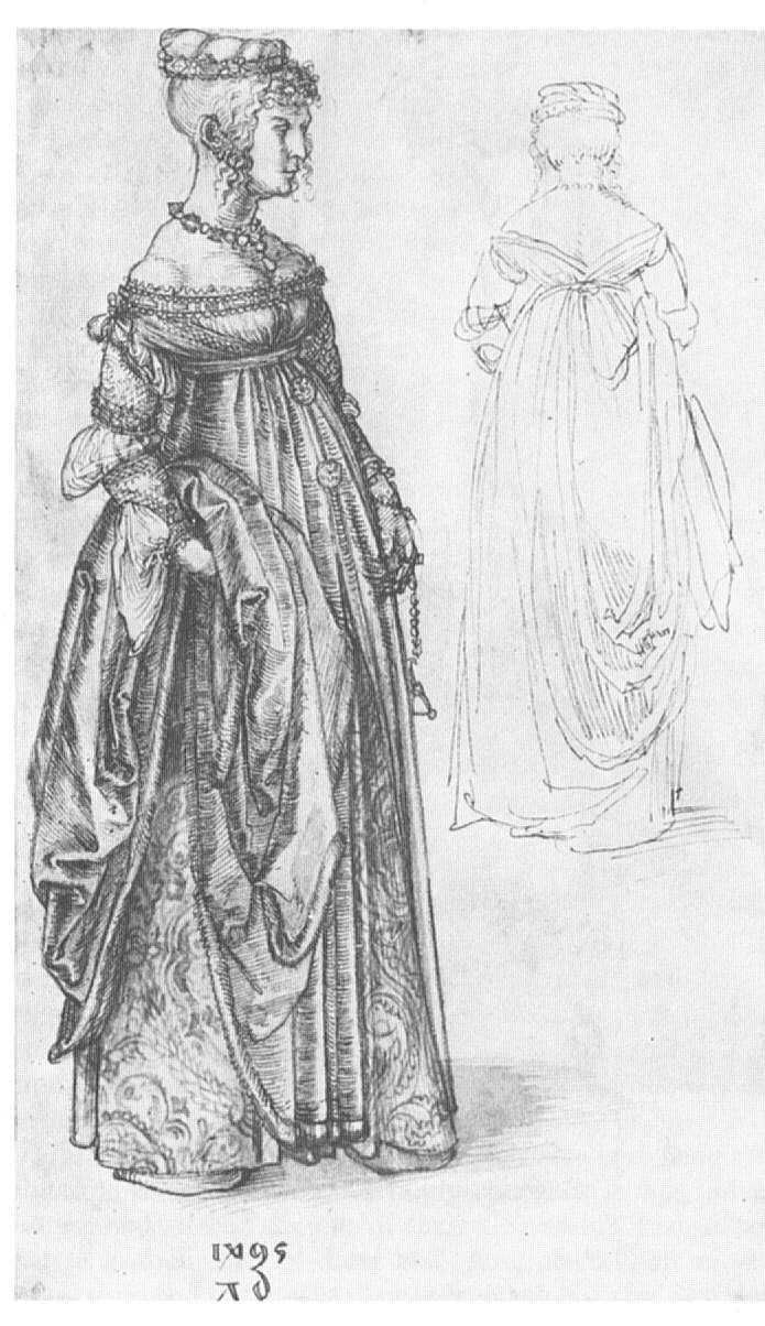 Portrait of a Venetian Lady, 1495, Albrecht Durer. Really want to put together a gown in this style with some of the bolts of silk I've been hoarding for something supremely deserving...