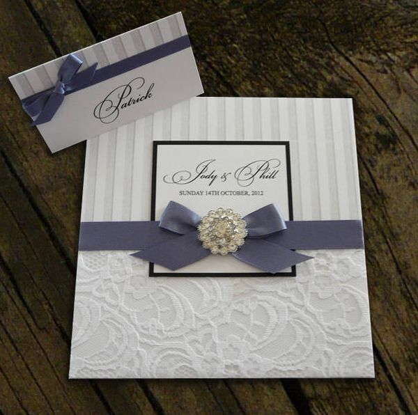Handmade Wedding Invitations: Pretty Ribbon Brooch Detail Invitation