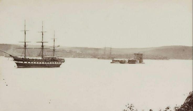 Fort Denison in Sydney Harbour in 1868.