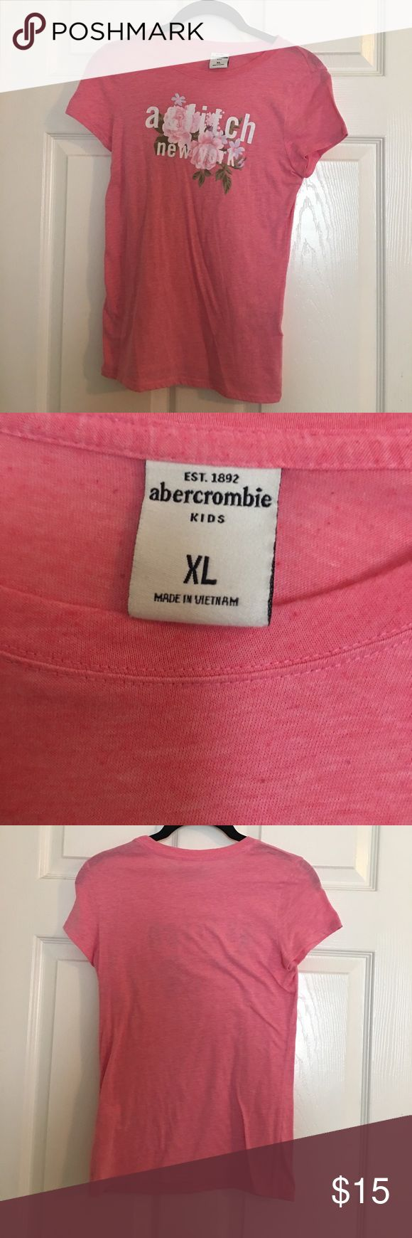 abercrombie and fitch pink t-shirt Super cute pink t-shirt with flowers. Abercombie Kids Shirts & Tops Tees - Short Sleeve
