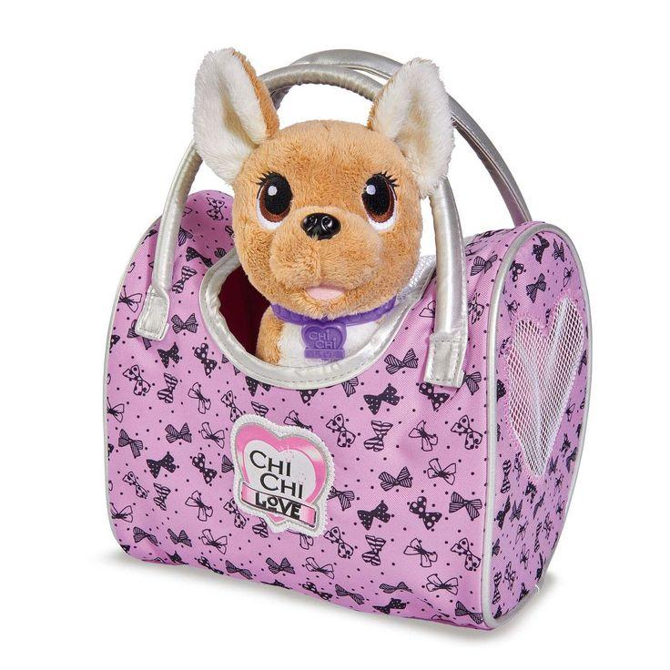 Neem je favoriete hondje Chi Chi Love overal mee naartoe! De chihuahua met paarse halsband komt namelijk in een prachtige roze handtas voorzien met handvatten. Chi Chi heeft een lengte van ca. 20 cm.Afmeting:22,5 x 20 x 14,5 cm - Chi Chi Love on Tour