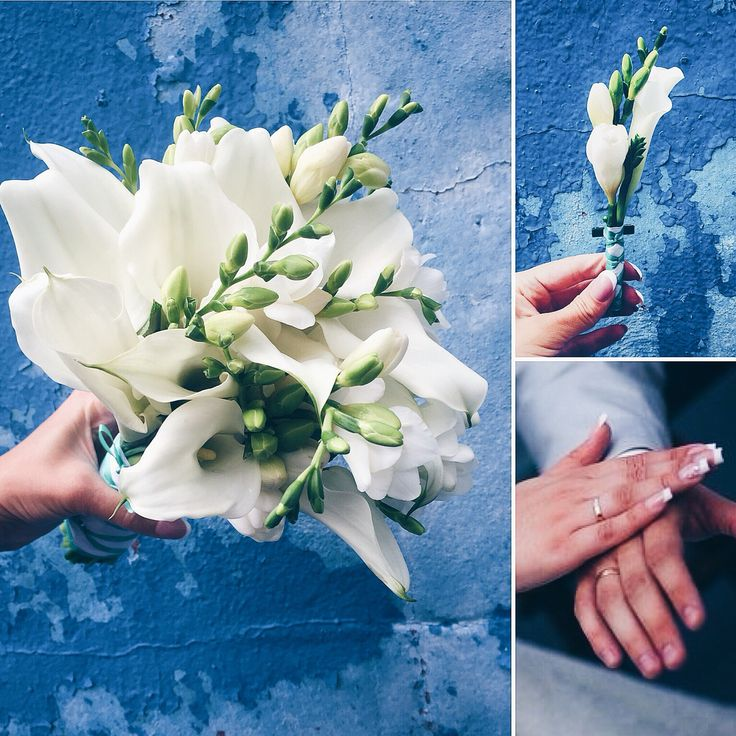 Свадебный букет из белых калл и фрезии.    Wedding bouquet with kalla's and fresia.