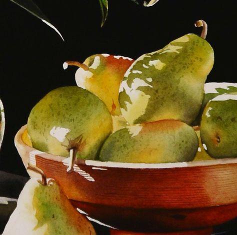 still life bowl of pears