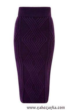 Юбка из аранов спицами. Схема прямой юбки спицами