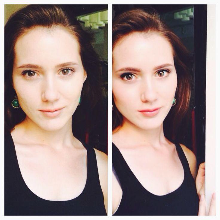 Макияж на фото справа занял ровно 3 МИНУТЫ. На Маше @mariya_shirshova 1) тон #Kettcosmetics; 2) на глазах тени из натуральный палетки #viseart, светлый на подвижном веке, складка - натуральный коричневый и ресничный контур - черный оттенки; 3) черная минеральная тушь #freshminerals  #ЭТОМОЖЕТКАЖДАЯ #МАКИЯЖНАКАЖДЫЙДЕНЬ #dominiqbeauty #beautyhub #fastmakeup #3minutes #экспрессмакияж #безупречныймакияж #себелюбимой   By @annabednarskaya #dominiqdreamteam #dominiqclass #tutorial #makeuptutorial