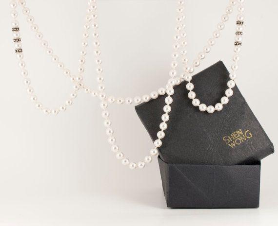 Classic Long Swarovski Pearl Necklace Handmade by ShenWongJewellery, €110.00