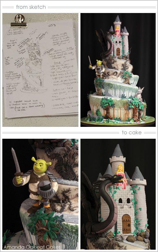 Shrek and Sleeping Beauty Castle Cake