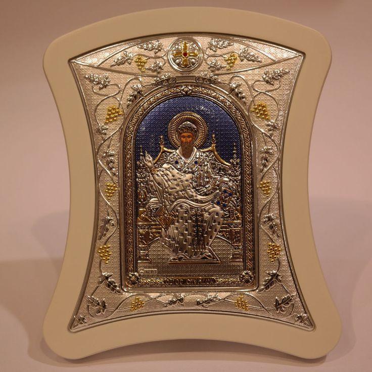 Orthodox Icon Greek Handmade Byzantine Silver 925 Saint Spyridon 22x18cm