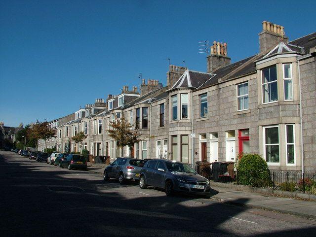 Typical Granite street in west end of Aberdeen