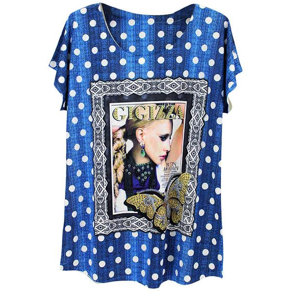 Blue Polka Dot Beauty Printed Batwing Sleeve Charming Ladies Tee Shirt ($7.79) ❤ liked on Polyvore featuring tops, t-shirts, blue, batwing sleeve tops, polka dot tee, polka dot t shirt, blue t shirt and blue polka dot top