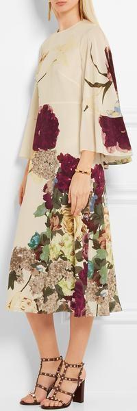 Cape-Back Floral-Print Silk Midi Dress Material: Silk  Valentino Inspired Dresses