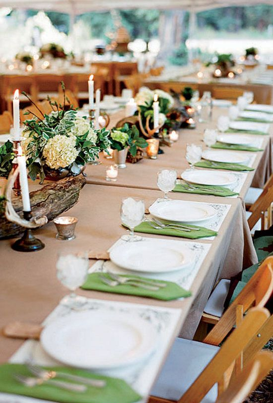 Green And White Rustic Wedding Table