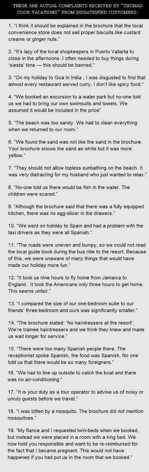 TRAVEL HUMOR: Actual complaints from Thomas Cook clients - Take a vacay with Vacayster.com