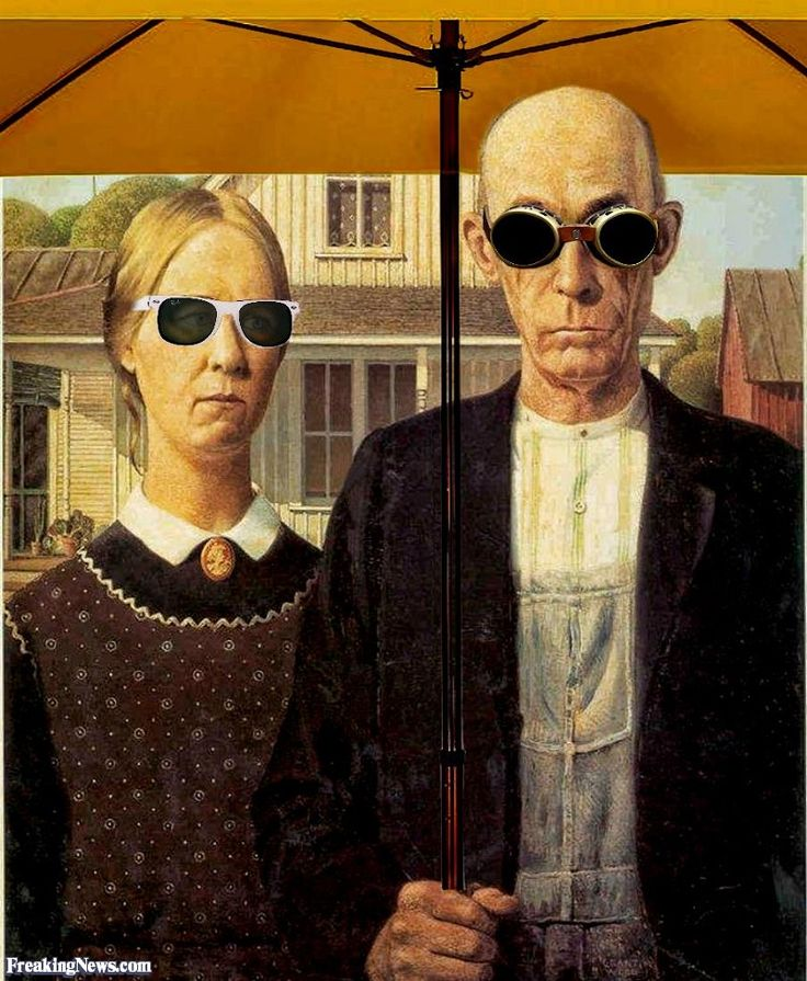grant wood and the american gothic Julie aronson's story of how grant wood's iconic american gothic came to be at the cincinnati art museum this fall is a lesson in not censoring yourself while brainstorming.