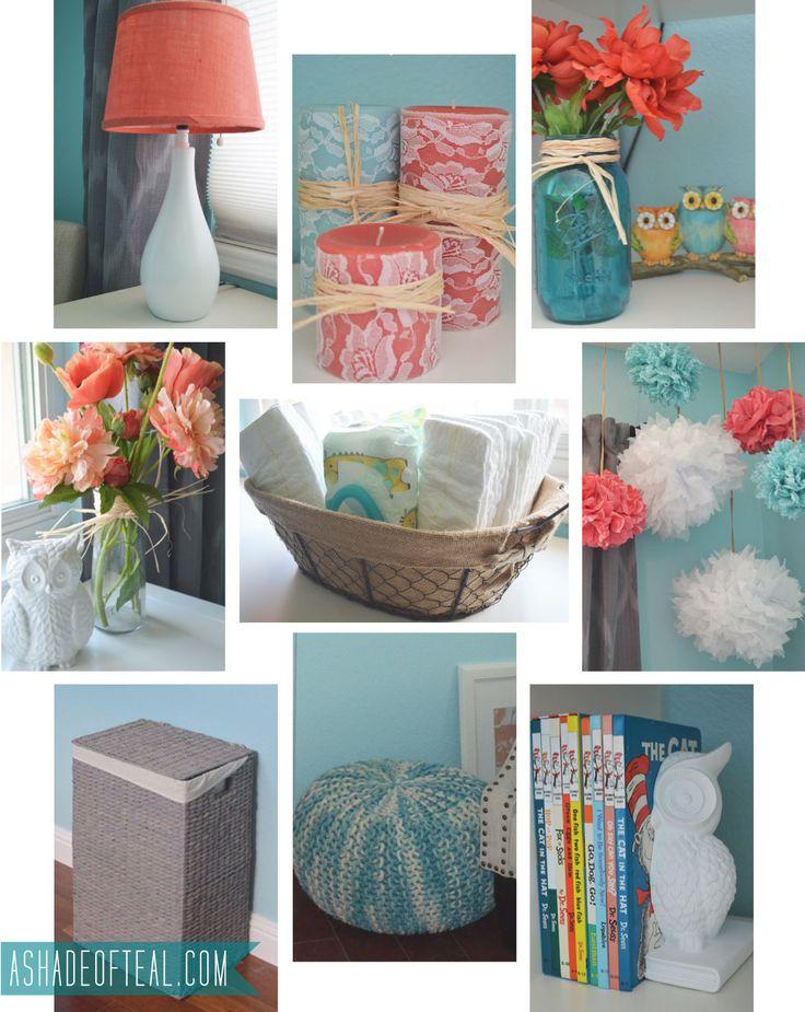 Nursery Items, Coral Aqua Grey Nursery