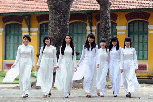 The áo dài is a Vietnamese national costume, now most commonly worn by women. In its current form, it is a tight-fitting silk tunic worn over pants