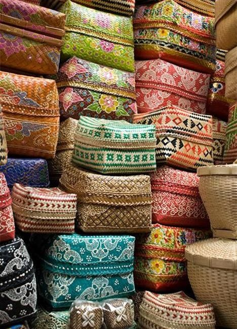 Traditional balinese offering baskets. I bring them back to Australia and use them as bookshelf storage boxes. They add so much colour to the room. I love them