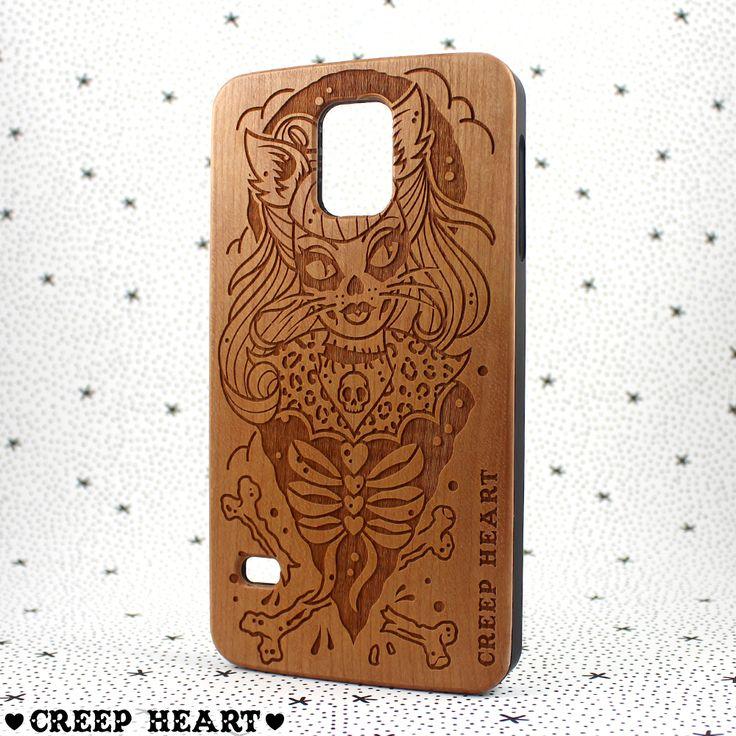 'Psycho Kitten' Samsung Galaxy S5 Wooden Case - Creep Heart by Ella Mobbs